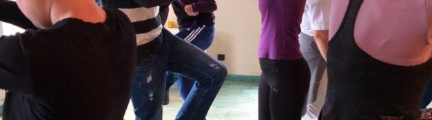 9.4.2019. Korisnici Dnevnog centra  u pratnji terapeuta u posjeti NVO Fit Woman Montenegro na casu sa fitnes instrukturom Srdjanom uz pomoc fizioterapeuta I profesora fizickog.